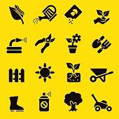 Gardening Yellow Silhouette icons | EPS10