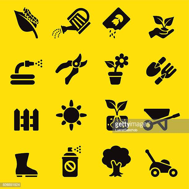 gardening yellow silhouette icons | eps10 - watering can stock illustrations