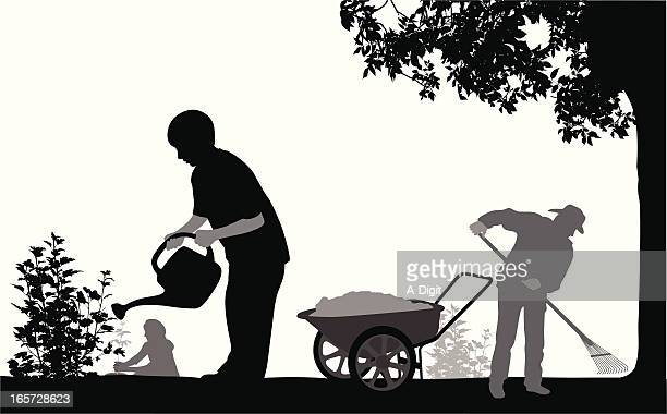 garden's vector silhouette - watering can stock illustrations, clip art, cartoons, & icons