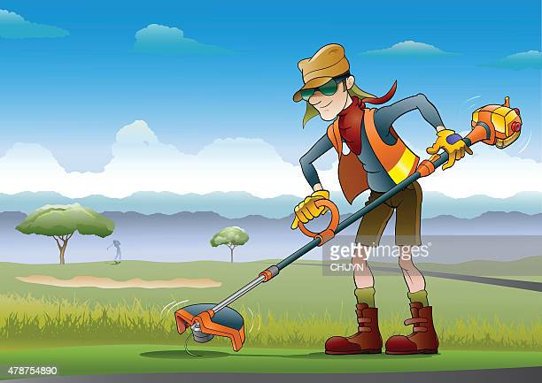 gardner - weed wacker stock illustrations, clip art, cartoons, & icons