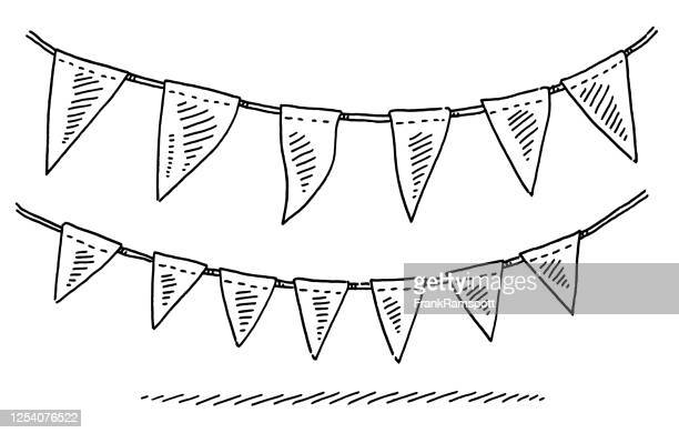 illustrazioni stock, clip art, cartoni animati e icone di tendenza di ghirlanda per festeggiare con bandiere - decorazione festiva