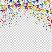 garlands, streamers and confetti background with vector transparency