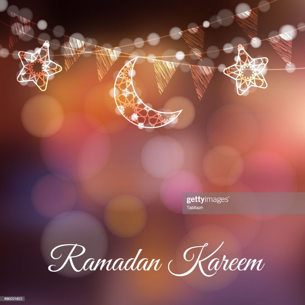 Garlands with decorative moons, stars, lights and party flags. Vector illustration card, invitation for Muslim community holy month Ramadan Kareem. Colorful festive blurred background
