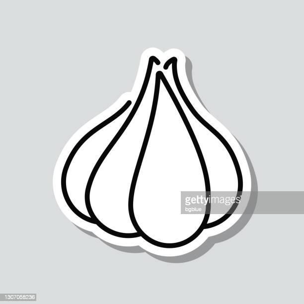 garlic. icon sticker on gray background - garlic clove stock illustrations