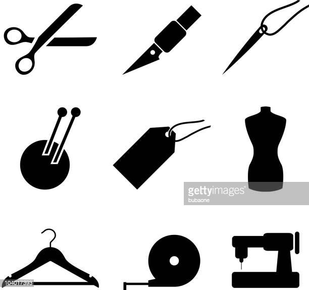 Garment and sewing black on white vector icon set