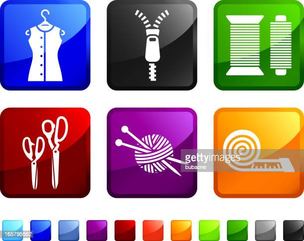 garments and accessories royalty free vector icon set stickers - fashion collection stock illustrations