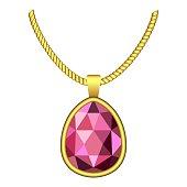 Garnet necklace jewelry icon, realistic style