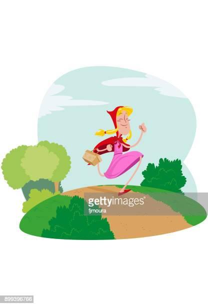 ilustrações de stock, clip art, desenhos animados e ícones de garota de capuz correndo no bosque - chapeuzinho vermelho