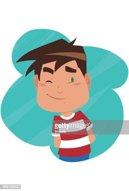 garoto timido - blink stock illustrations, clip art, cartoons, & icons