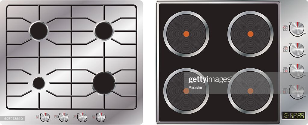 Gas and electric cooking top. Appliances. Realistic image. Vector.