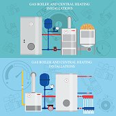 Gas boiler and central heating installations, flat heating conce