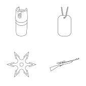 A gas cylinder, a soldier's token, a sniper rifle, a shuriken. Weapons set collection icons in outline style vector symbol stock illustration web.