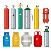 Gas cylinders icons. Petroleum safety fuel metal tank of helium butane acetylene vector cartoon objects isolated