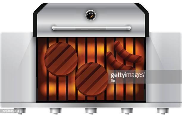 gasgrill von oben - bratwurst stock-grafiken, -clipart, -cartoons und -symbole