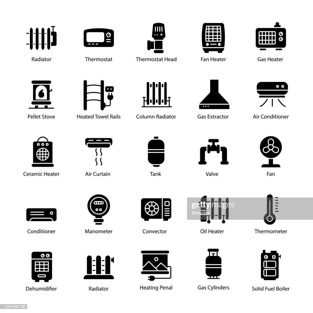Gas Heater Glyph Vector Icons