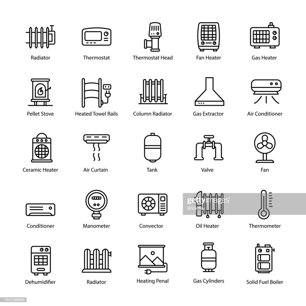Gas Heater Line Vector Icons