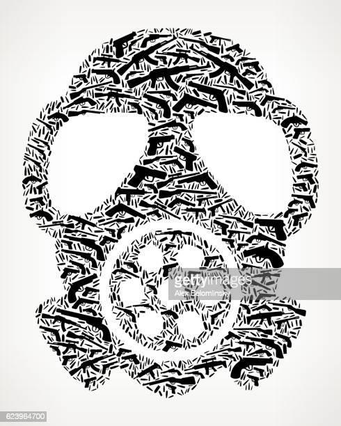 Gas Mask Gun Black Icon Pattern Background