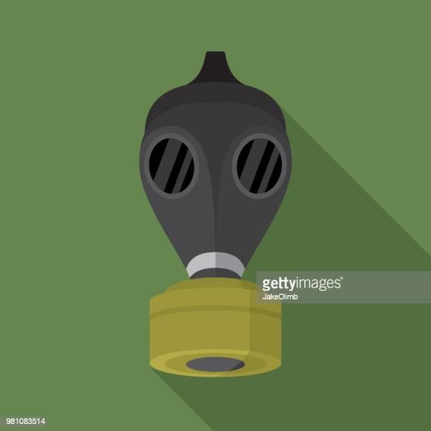 gas mask icon flat - medical ventilator stock illustrations, clip art, cartoons, & icons