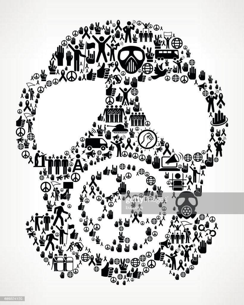 Gas Mask  Protest and Civil Rights Vector Icon Background