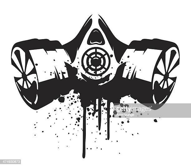 gas mask - stencil stock illustrations