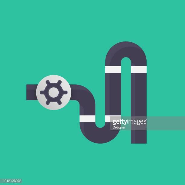 ilustrações, clipart, desenhos animados e ícones de ícone plano do gasoduto. elemento de design do símbolo da ilustração do vetor plano - fábrica petroquímica