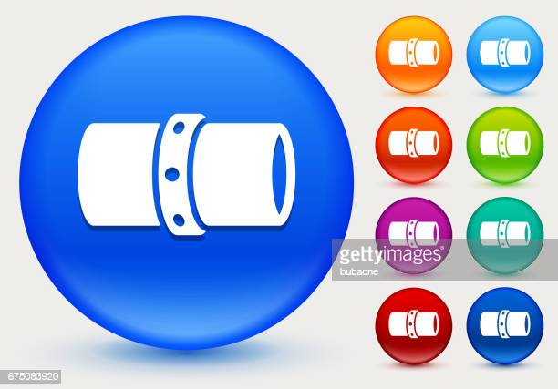 Gas Pipeline Icon on Shiny Color Circle Buttons