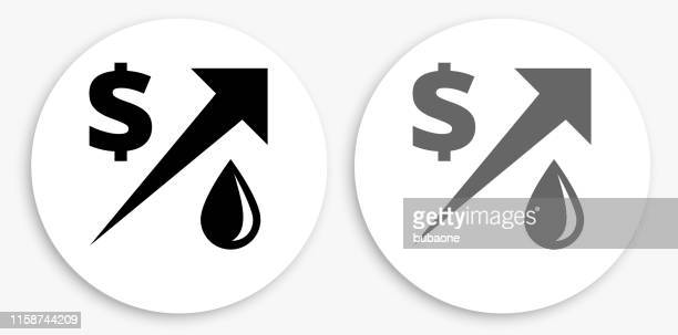 gas price increasing black and white round icon - gas prices stock illustrations, clip art, cartoons, & icons