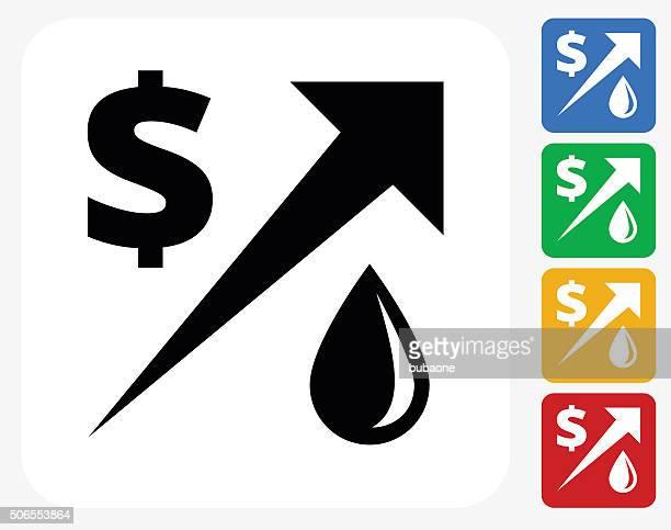 Gas Price Increasing Icon Flat Graphic Design