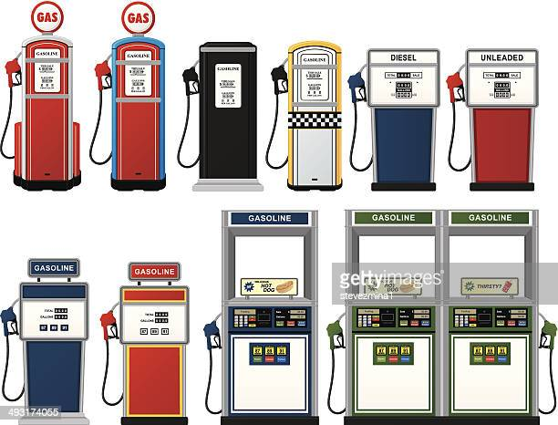 gas pump collection - fuel pump stock illustrations, clip art, cartoons, & icons