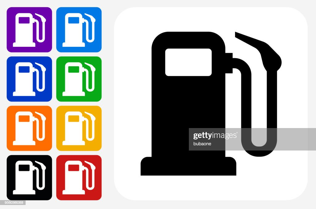 Gas Pump Icon Square Button Set : stock illustration