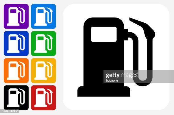 gas pump icon square button set - fuel pump stock illustrations, clip art, cartoons, & icons