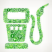 Gas Pump Nature and Environmental Conservation Icon Pattern