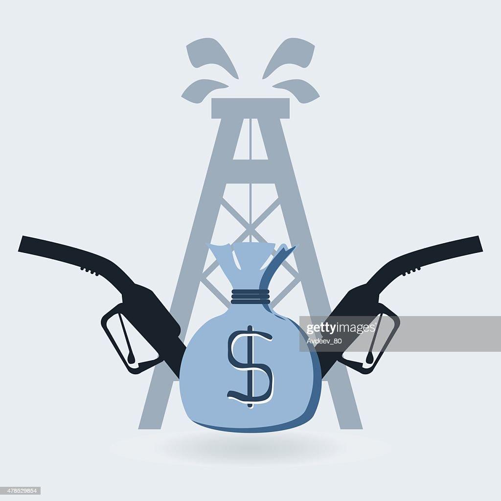 gas pump nozzle, oil barrel, money bag
