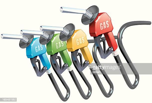 gas pump nozzles - handle stock illustrations, clip art, cartoons, & icons
