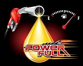 Gas pump nozzles with drop oil vector, power full concept.
