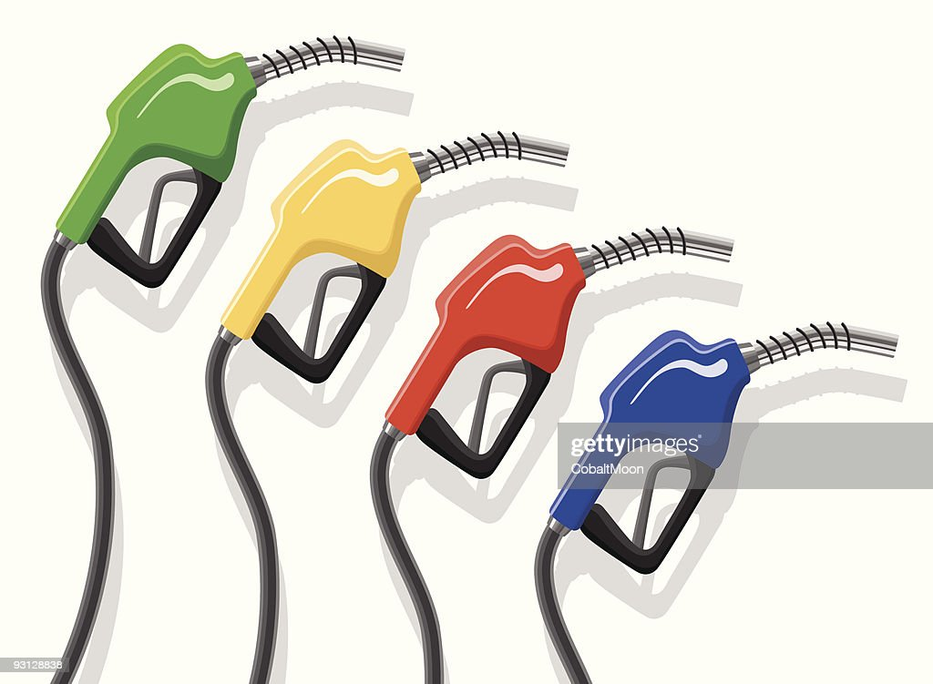 Gas pumps in four colors in a downward diagonal line