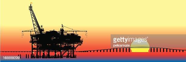 gas rig - drilling rig stock illustrations, clip art, cartoons, & icons
