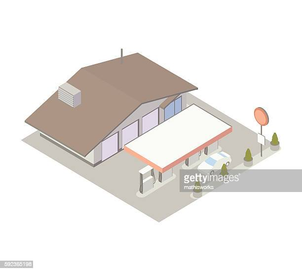 gas station and service center illustration - mathisworks architecture stock illustrations