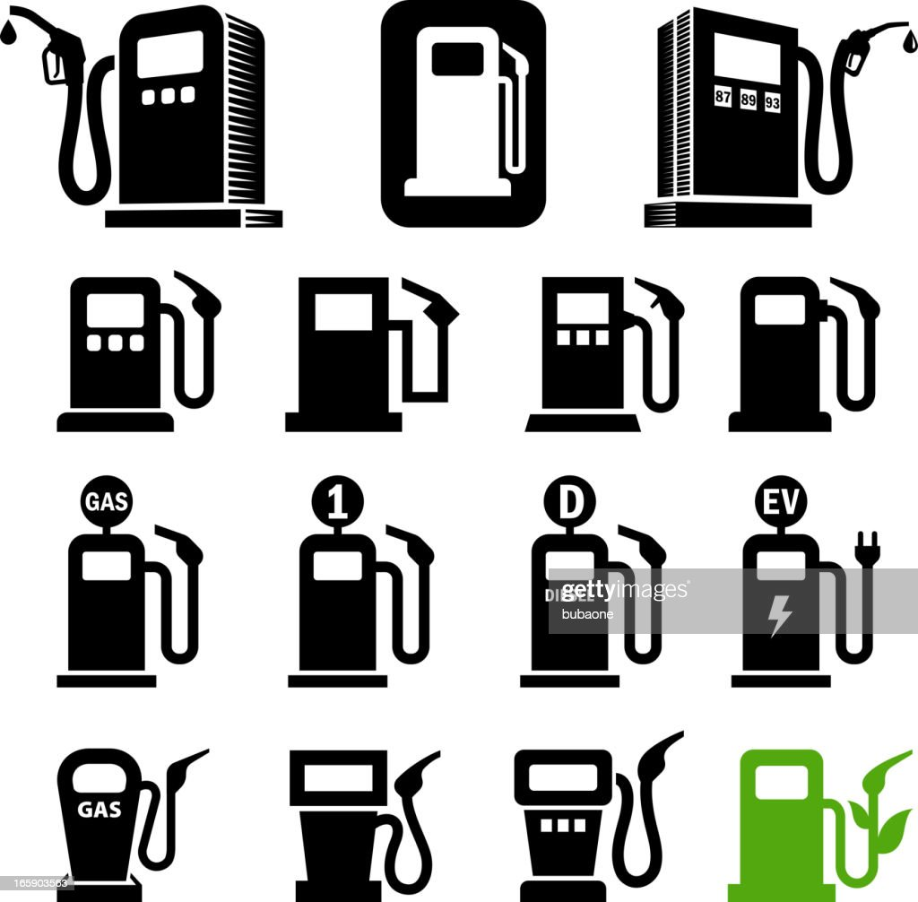 Gas station fuel pump black and white vector icon set : stock illustration