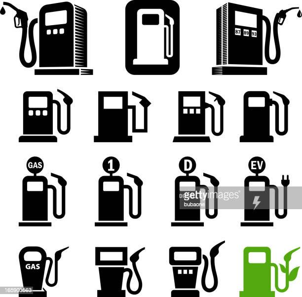 gas station fuel pump black and white vector icon set - fuel pump stock illustrations, clip art, cartoons, & icons