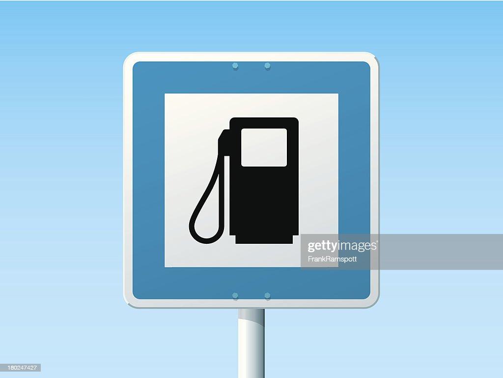 Gas Station deutsche Road Sign : Stock-Illustration