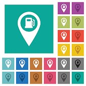 Gas station GPS map location square flat multi colored icons