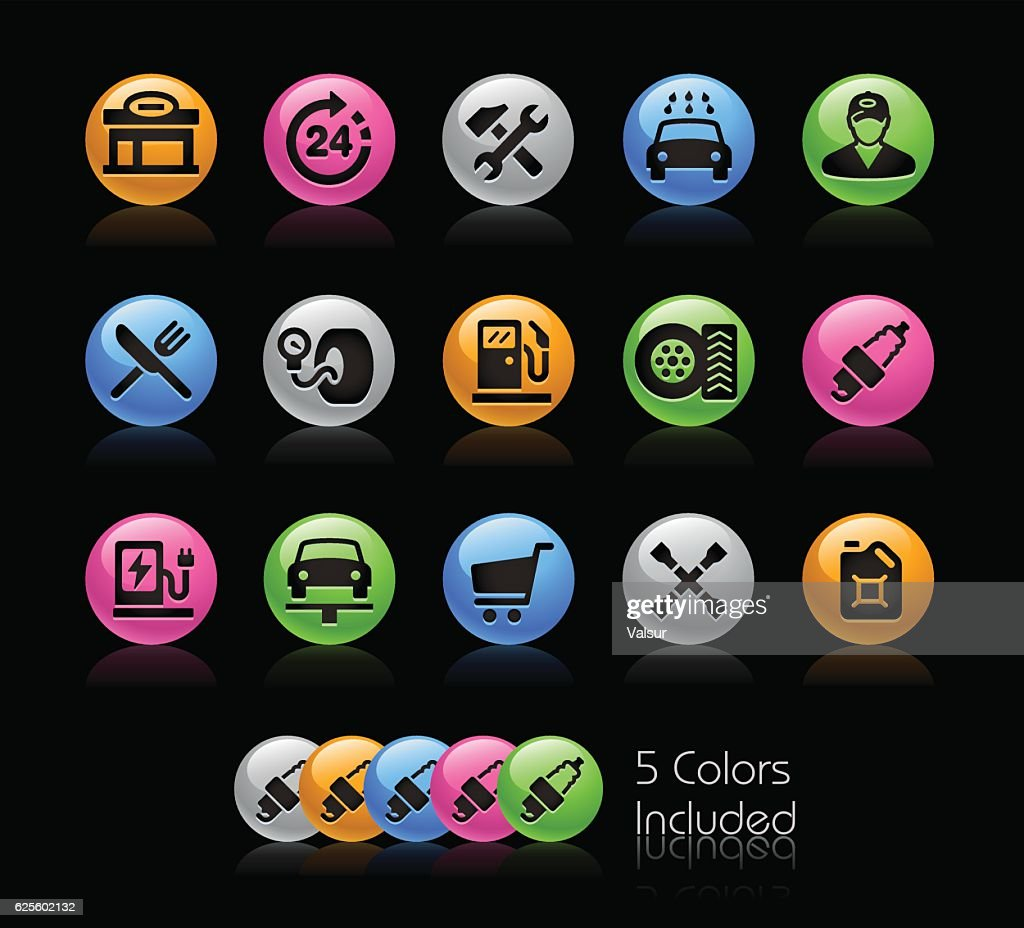 Gas Station Icon set // Gelcolor Series
