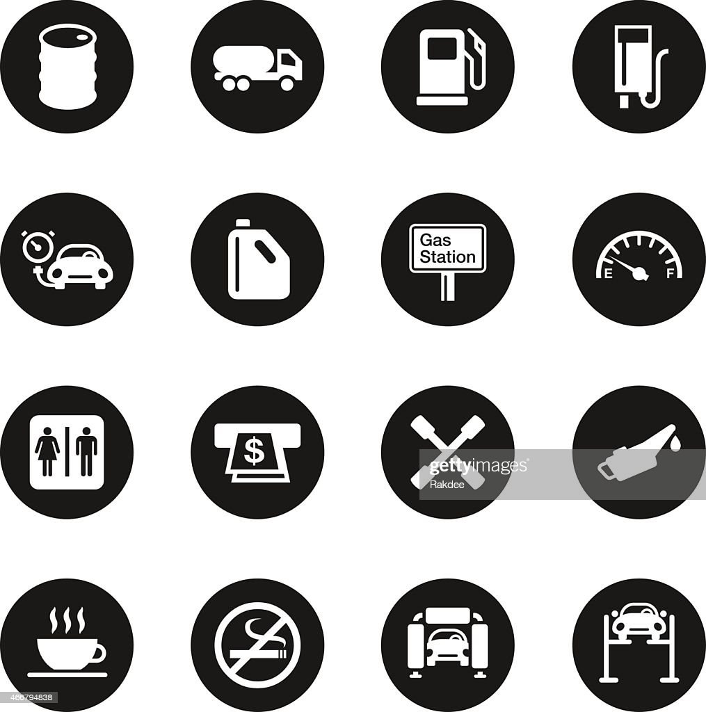 Gas Station Icons Black Circle Series Vector Art Getty Images