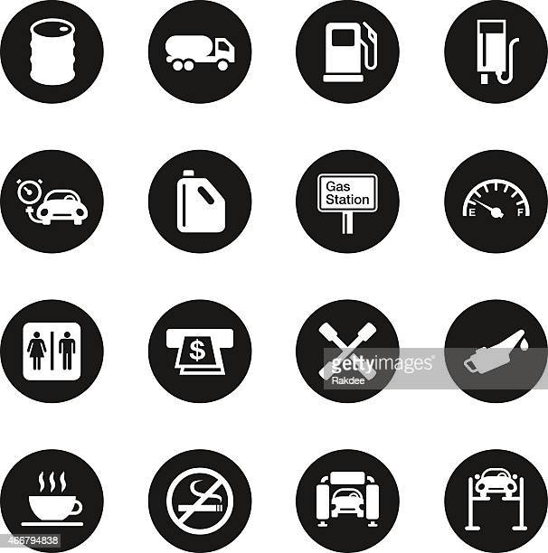 Gas Station Icons - Black Circle Series