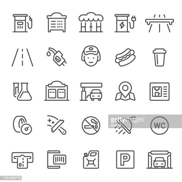 illustrations, cliparts, dessins animés et icônes de icônes de station d'essence - station de lavage auto