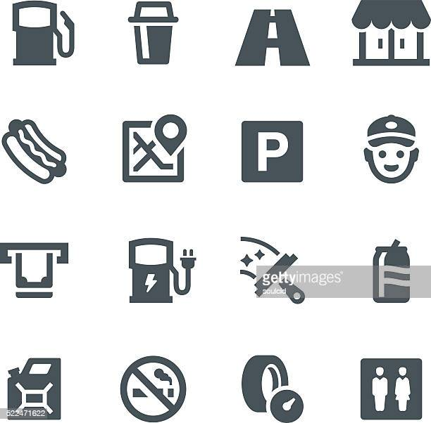 gas station icons - parking sign stock illustrations