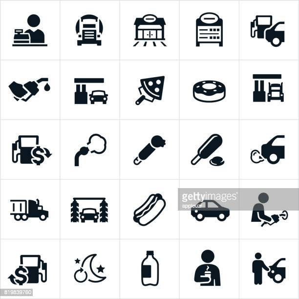 gas station icons - fuel pump stock illustrations, clip art, cartoons, & icons