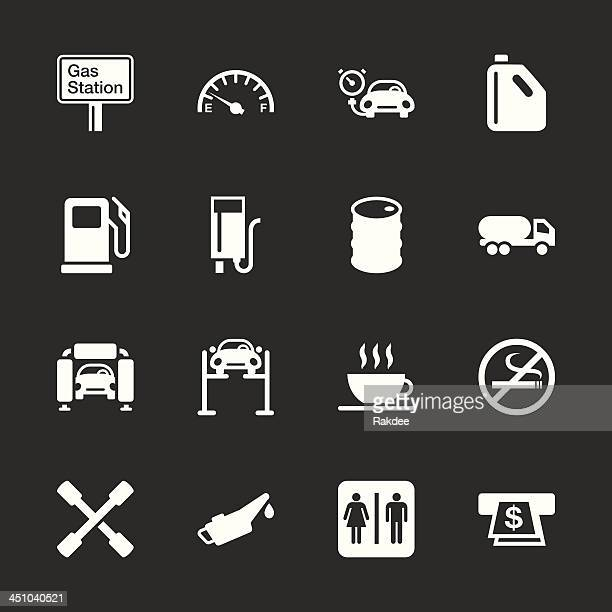 gas station icons - white series | eps10 - oil drum stock illustrations, clip art, cartoons, & icons