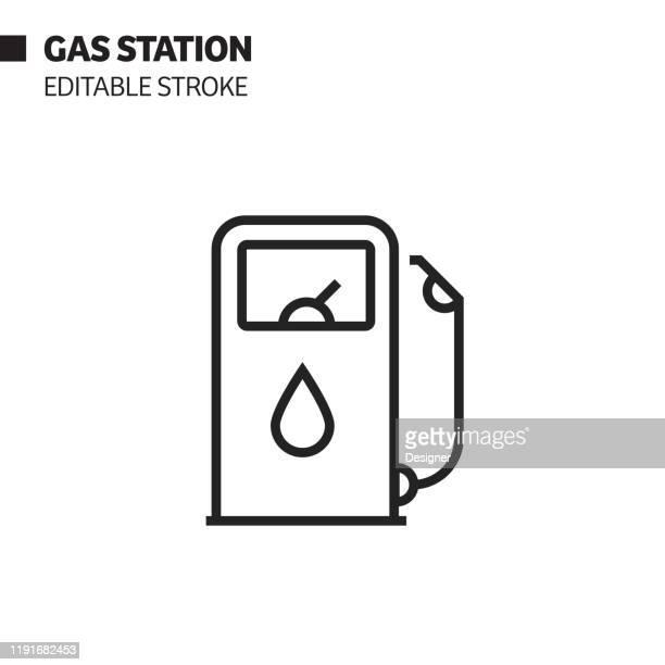 illustrazioni stock, clip art, cartoni animati e icone di tendenza di gas station line icon, outline vector symbol illustration. pixel perfect, editable stroke. - distributore di benzina